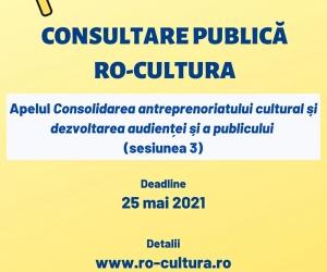 Anunț privind publicarea spre consultare a Ghidului solicitantului pentru apelul Consolidarea antreprenoriatului cultural și dezvoltarea audienței și a publicului (sesiunea 3)